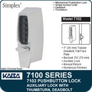 Simplex 7102 - Mechanical Pushbutton Auxiliary Lock with Thumbturn, Tubular Deadbolt