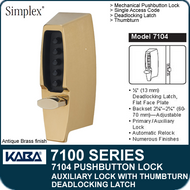 Simplex 7104 - Mechanical Pushbutton Auxiliary Lock with Thumbturn, Deadlocking Latch