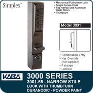 Simplex 3001-55 - Mechanical Pushbutton Narrow Stile Lock with Thumbturn for Aluminum Doors - Duranodic Powder Paint