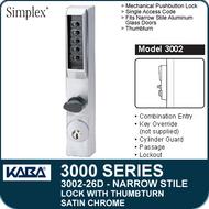 Simplex 3002-26D - Mechanical Pushbutton Narrow Stile Lock with Thumbturn for Aluminum Doors - Satin Chrome