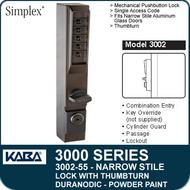 Simplex 3002-55 - Mechanical Pushbutton Narrow Stile Lock with Thumbturn for Aluminum Doors - Duranodic Powder Paint