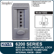 Simplex 6202-86 - Mechanical Pushbutton Cylindrical Lock with Exterior Thumbturn, Internal Knob - Gray