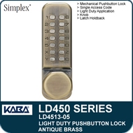 Simplex LD4513-05 - Light Duty Mechanical Pushbutton Lock Latch Holdback, Knob - Antique Brass