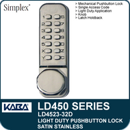 Simplex LD4523-32D - Light Duty Mechanical Pushbutton Lock Latch Holdback, Knob - Satin Stainless
