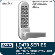 Simplex LD4714-32D - Light Duty Mechanical Pushbutton Lock with Vandal Resistant Clutching Lever - Satin Stainless