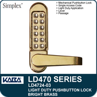 Simplex LD4724-03 - Light Duty Mechanical Pushbutton Lock with Vandal Resistant Clutching Lever - Bright Brass