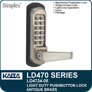 Antique Brass - Simplex LD4724-05 - Mechanical Light Duty Pushbutton Lock with Vandal Resistant Clutching Lever