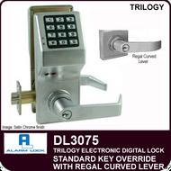 Alarm Lock Trilogy DL3075 - Standard Key Override with Regal Curved Lever