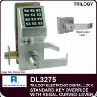 Alarm Lock Trilogy DL3275 - Standard Key Override with Regal Curved Lever