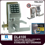 Alarm Lock Trilogy DL4100 - ELECTRONIC DIGITAL LOCKS, WITH PRIVACY & RESIDENCY FEATURES - Standard Key Override