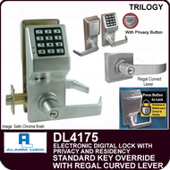 Alarm Lock Trilogy DL4175 - ELECTRONIC DIGITAL LOCKS, WITH PRIVACY & RESIDENCY FEATURES - Standard Key Override with Regal Curved Lever