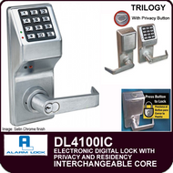 Alarm Lock Trilogy DL4100IC - ELECTRONIC DIGITAL LOCKS, WITH PRIVACY & RESIDENCY FEATURES - Interchangeable Core prepped for Best