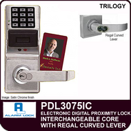 Alarm Lock Trilogy PDL3075IC - ELECTRONIC DIGITAL PROXIMITY LOCKS - Interchangeable Core with Regal Curved Lever