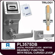Alarm Lock Trilogy PL3575DB - ELECTRONIC PROXIMITY MORTISE LOCKS - Regal Curved Lever Deadbolt Function