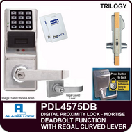 Alarm Lock Trilogy PDL4575DB - ELECTRONIC DIGITAL PROXIMITY MORTISE LOCKS, WITH PRIVACY & RESIDENCY FEATURES - Regal Curved Lever Deadbolt Function