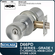 Schlage D66PD- Heavy Duty Commercial Store Knob Lock - Double Cylinder