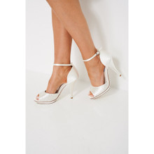 Modern Outfitters | White Satin Bridal Diamante Peep Toe Heel Sandals