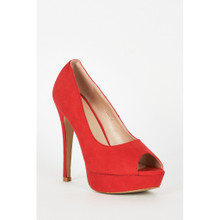 Modern Outfitters | Red Faux Suede High Heel Platform Shoes