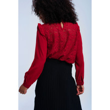 Red shirt with lace and ruffle