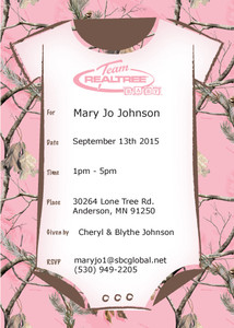 Pink Camo Baby Shower Invitaion
