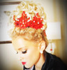 Red Floral Lace Clips