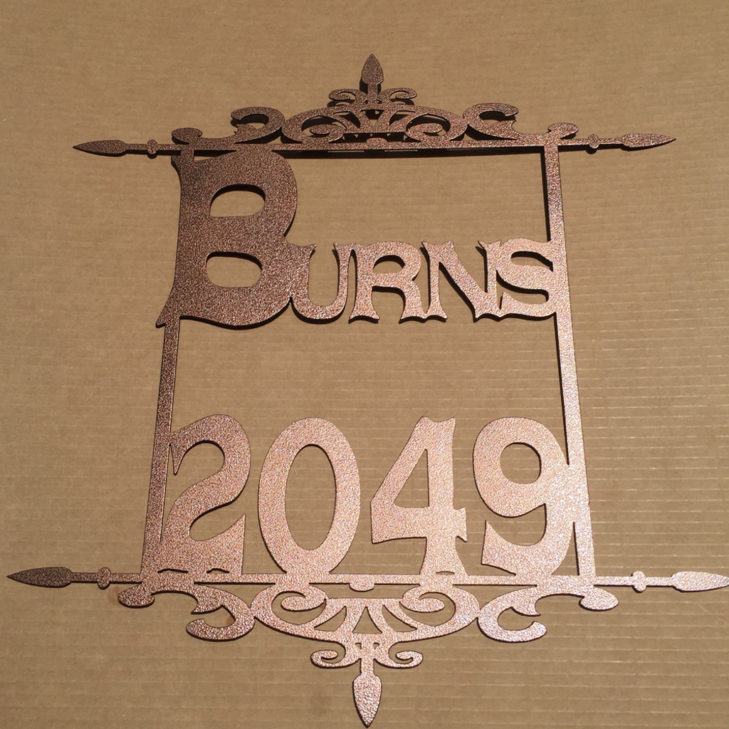 Address Sign Metal Sign with Custom Text and Scroll Work (K5)