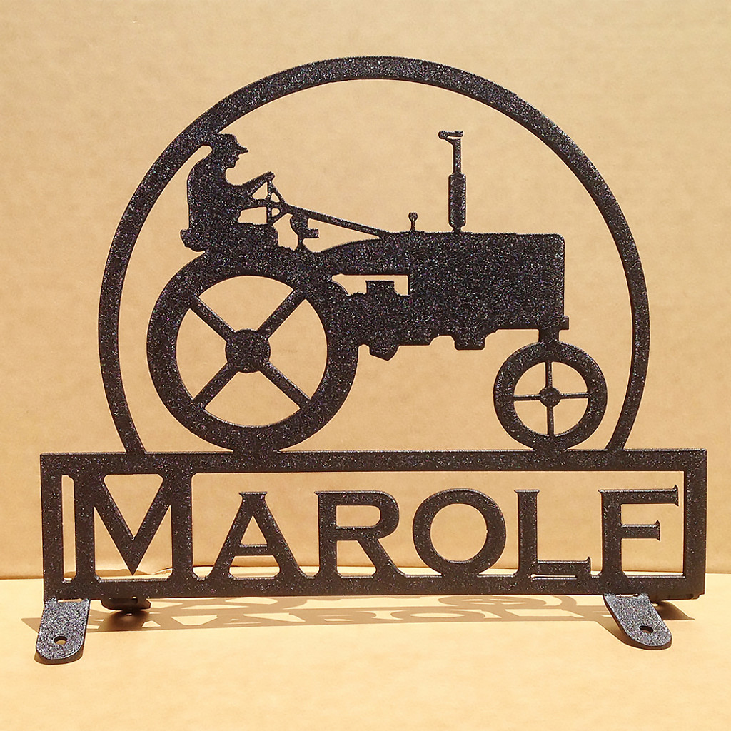 Old Tractor with Farmer Mail Box Topper with Custom Text Field (C19)