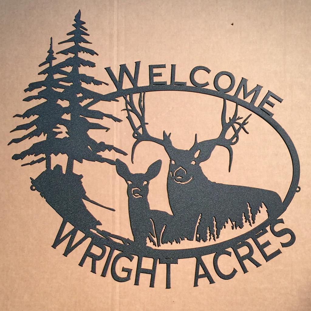 Big Buck & Doe Custom Name / Welcome Sign (09) LARGE