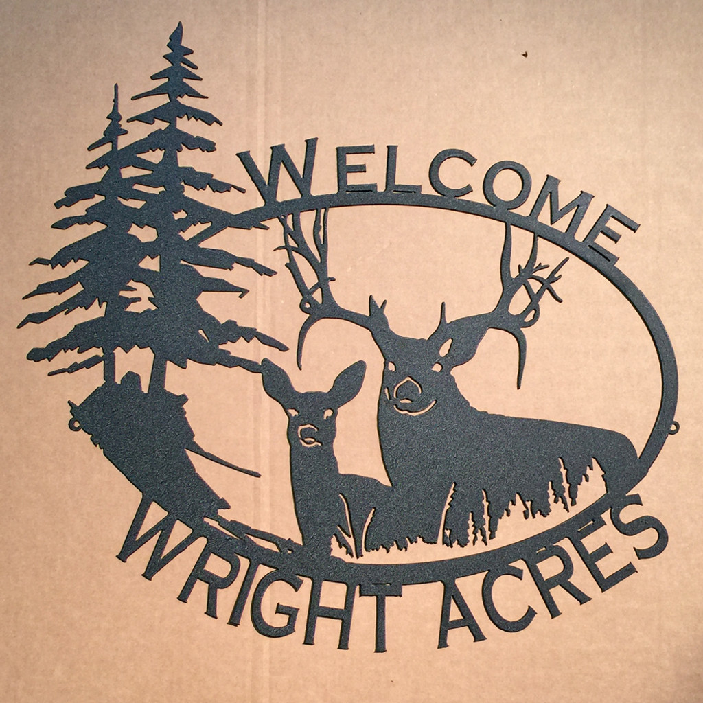 Big Buck & Doe Custom Name / Welcome Sign SMALL (09)