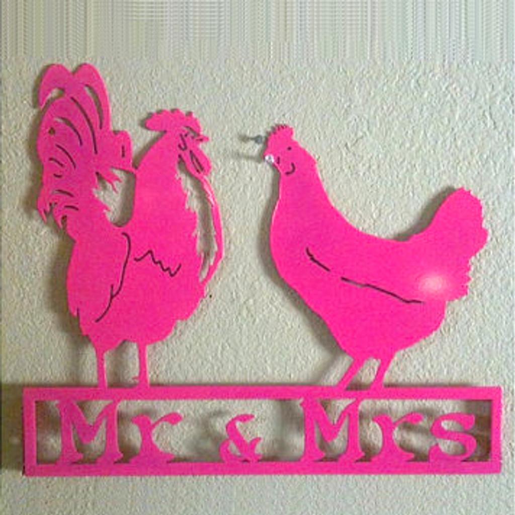 Custom Text Rooster & Hen Wall Art / Sign (H17)