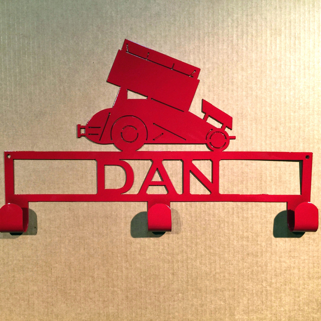 Hat / Coat Rack Sprint Car with Custom Text  Box 3 Hooks (X14)
