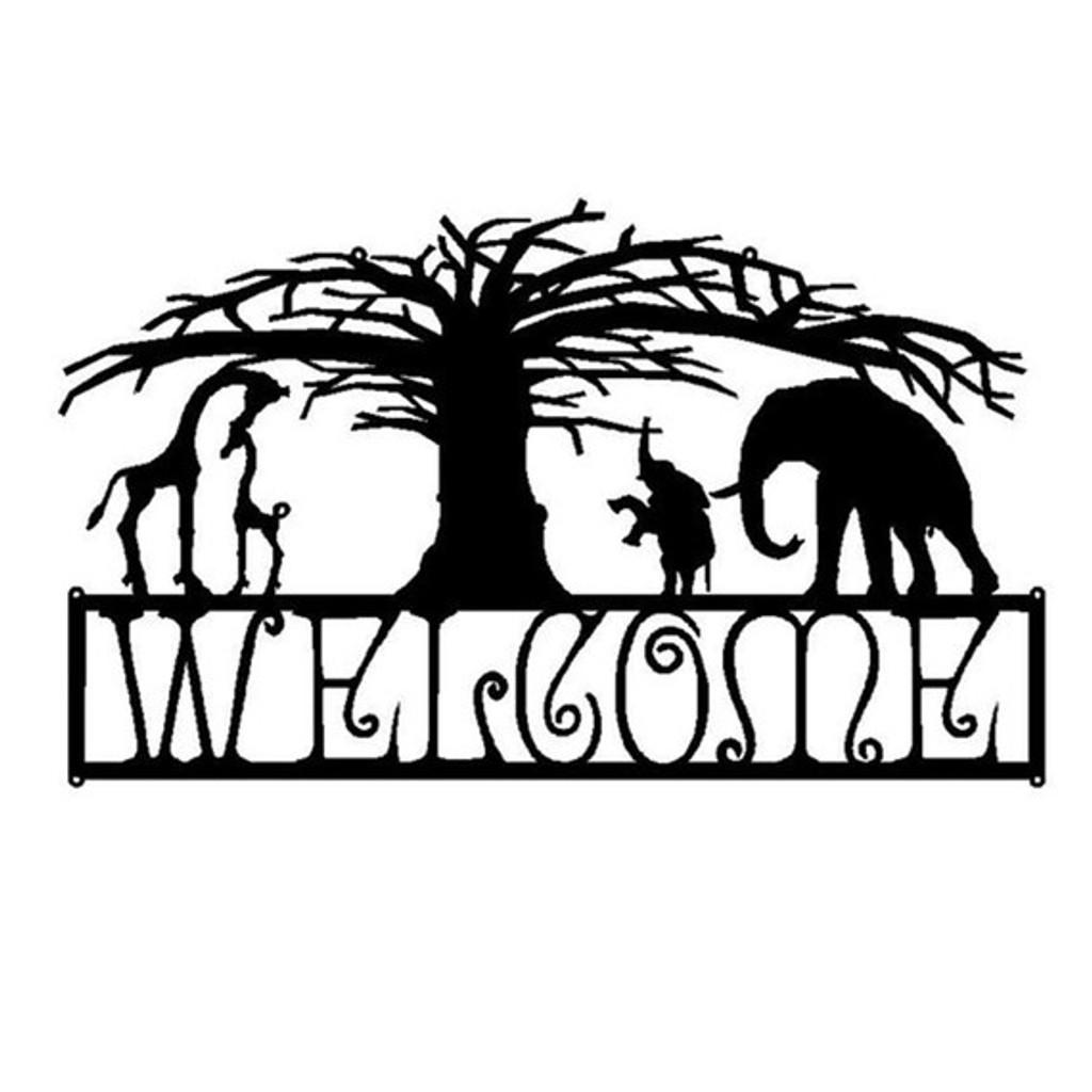 Custom Metal Welcome African Scene (M1)