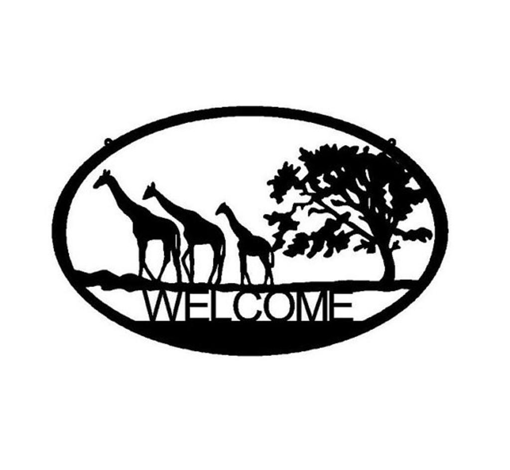 Metal Art Welcome Sign Giraffe (N8)
