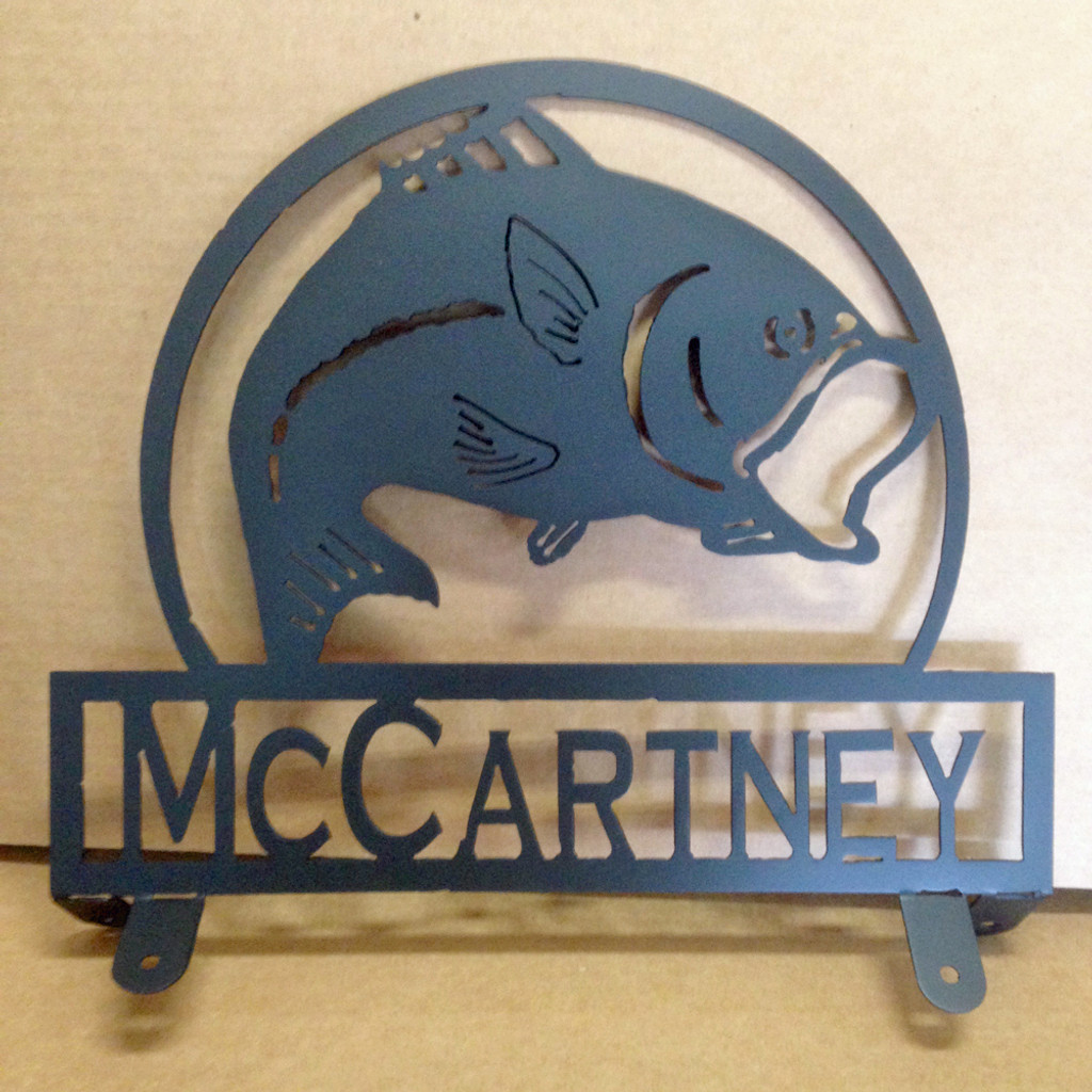 Bass Mail Box Topper with Personalized Text Field