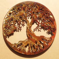 "Metal Art Tree Of Life 20"" with 1"" Ring to hold it away from the wall (D16)"