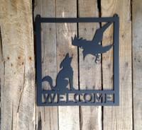 Metal Welcome Sign Coyote / Raven Metal Wall Art (U3)
