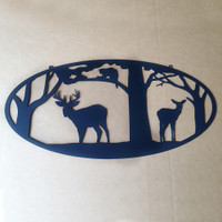 Deer with Trees and Coon Metal Wall Art (N4)
