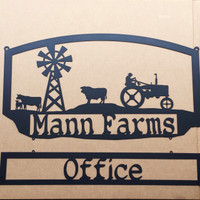 Custom Metal Farm Sign with Cow and Tractor (E12)