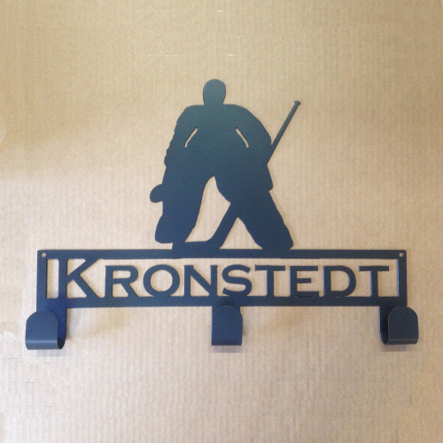 Hockey Goalie Hat / Jersey Rack with Personalized Text (Y28)