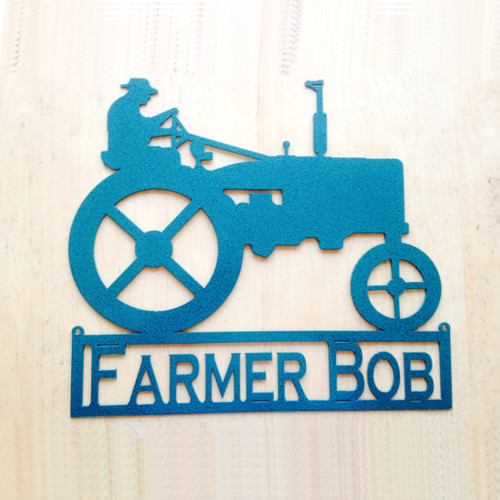 Man on Tractor Custom Name Metal Wall Art (H15)