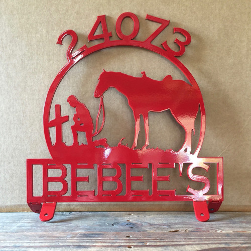 Mail Box Topper with Praying Cowboy and Horse with Personalized Text Box (Z28)