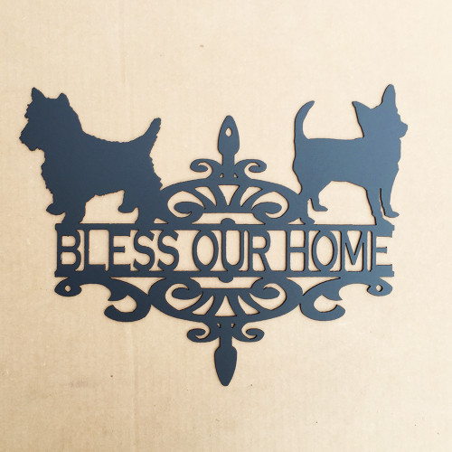 Chihuahua and Yorkie sign with custom text (O13)
