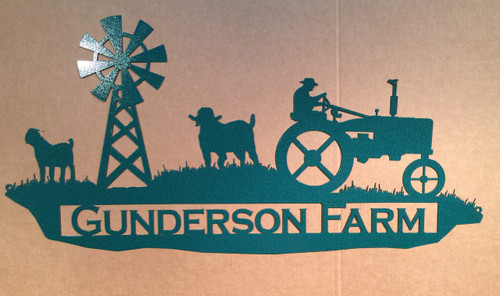 Farm Sign with Tractor and sheep and Custom Text Field (N11)