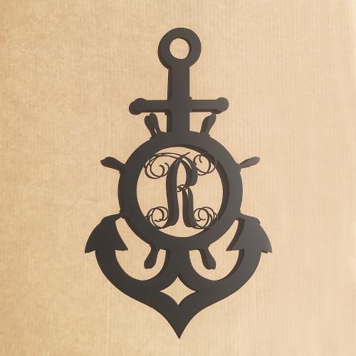 Ships Wheel And Anchor With Vine Monogram Metal 14 Gauge Steel (S23)