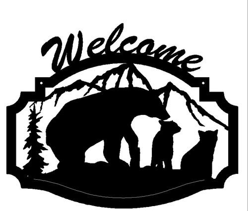 Bear with Cubs Welcome Sign (B32)