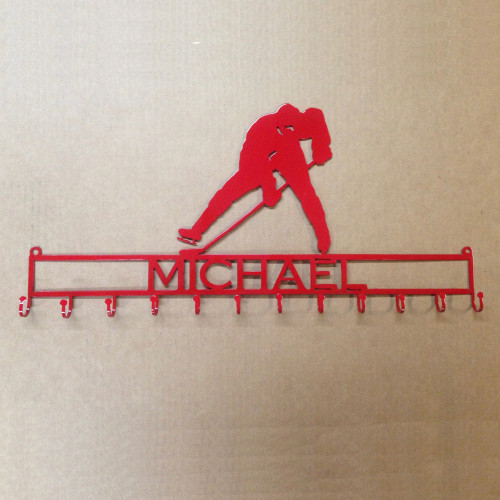 Metal Art Hockey Player Medal Rack with Custom Text (P18)