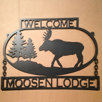 Custom Text Moose Sign Metal Wall Art (F11)