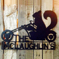 Motorcycle Squirrel Metal Wall Art with Custom Text (H9)