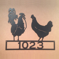 Custom Text Rooster & Hen Wall Art / Sign (H17)