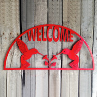 Welcome Sign with Two Hummingbirds and Flowers (C)